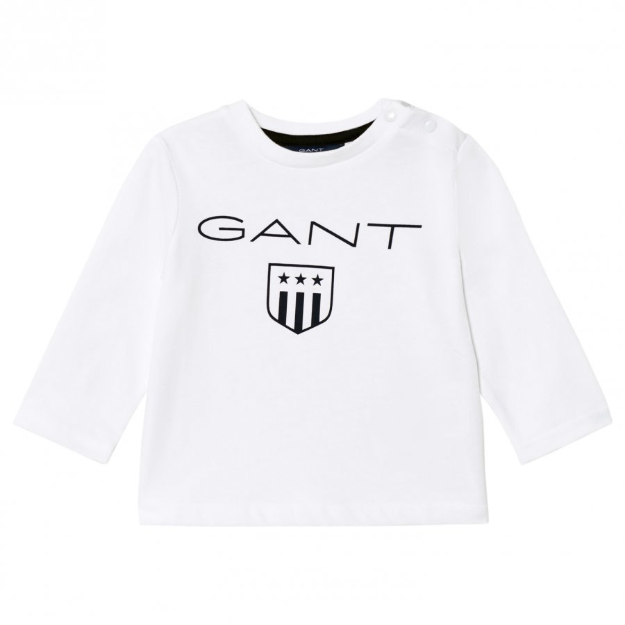 Gant White Shield Long Sleeve Tee T-Paita