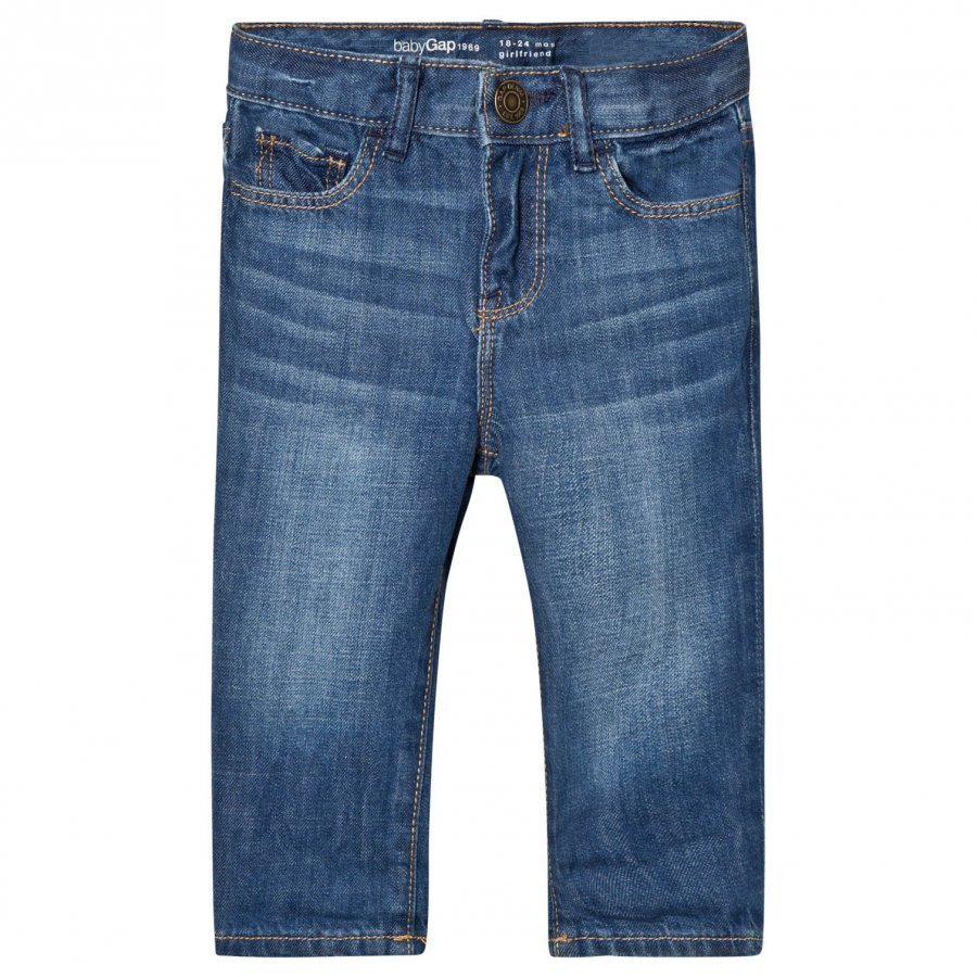 Gap 1969 Denim Girlfriend Jeans Medium Indigo Farkut