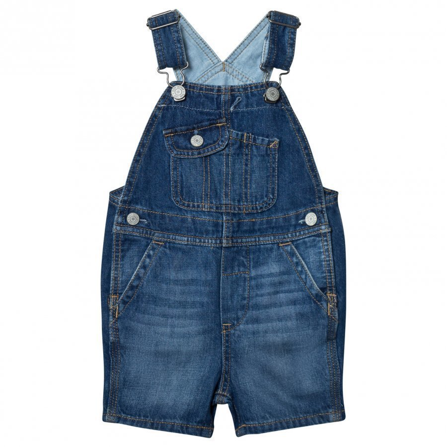 Gap 1969 Denim Short Overalls Medium Wash Lappuhaalari