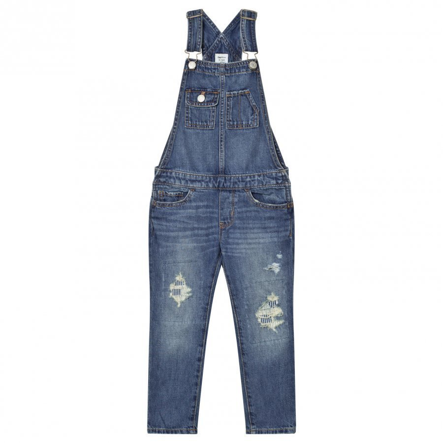 Gap 1969 Rip & Repair Overalls Medium Wash Lappuhaalari