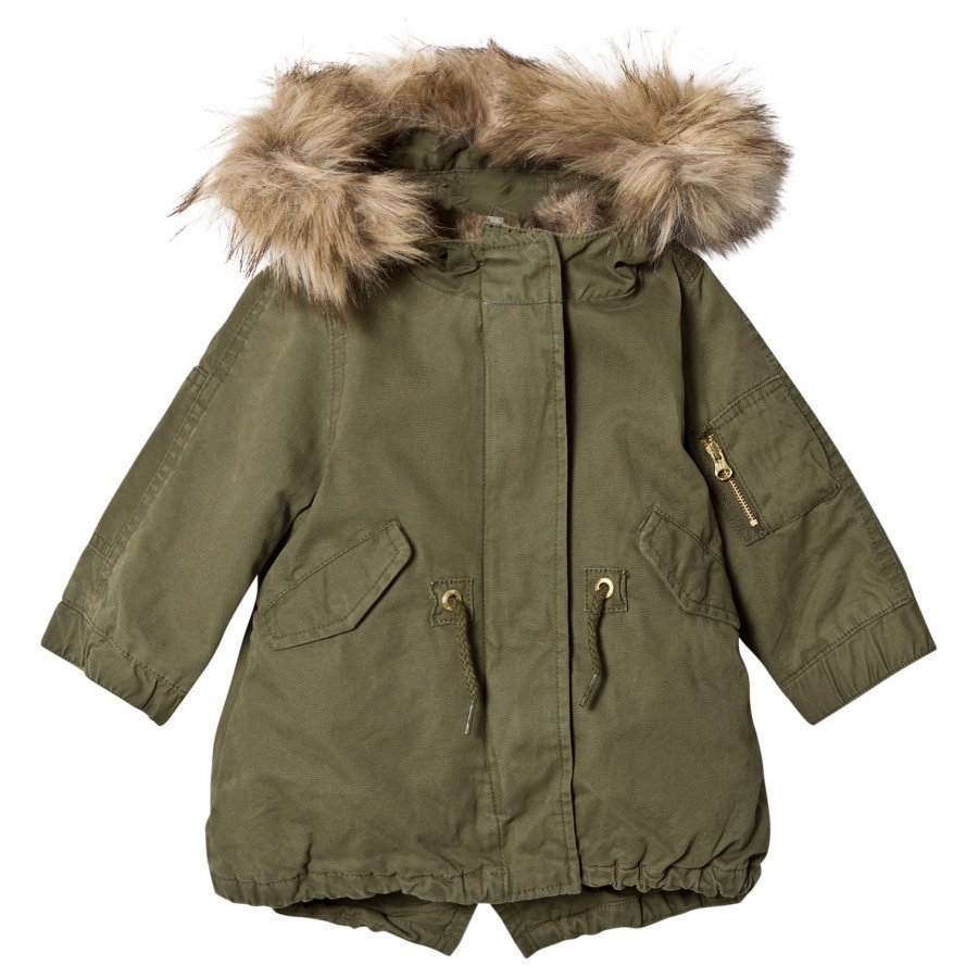 Gap 3in1 Fur Parka Army Jacket Green Parkatakki