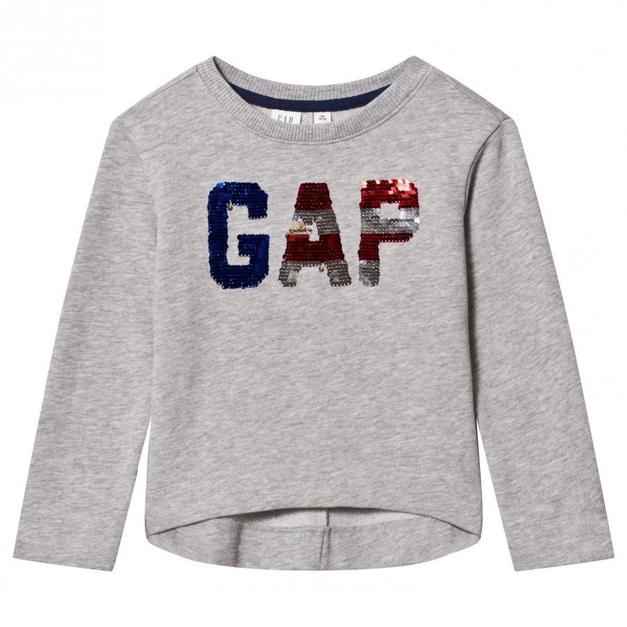 Gap Americana Flippy Sequin Sweatshirt Grey Heather T-Paita