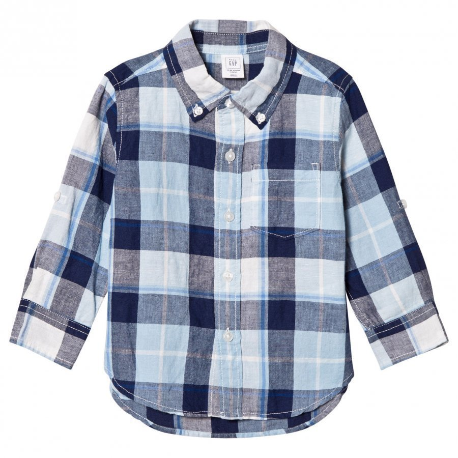 Gap Bold Plaid Linen Blend Convertible Shirt Blue Focus Kauluspaita