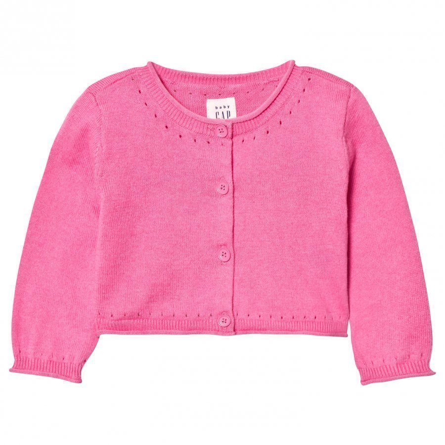 Gap Button Crew Cardigan Pixie Dust Pink Neuletakki