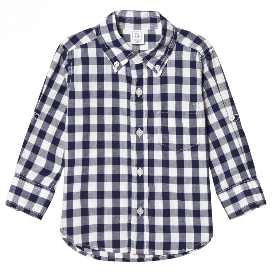 Gap Check Poplin Convertible Shirt New Zephyr Blue Pitkähihainen T-Paita