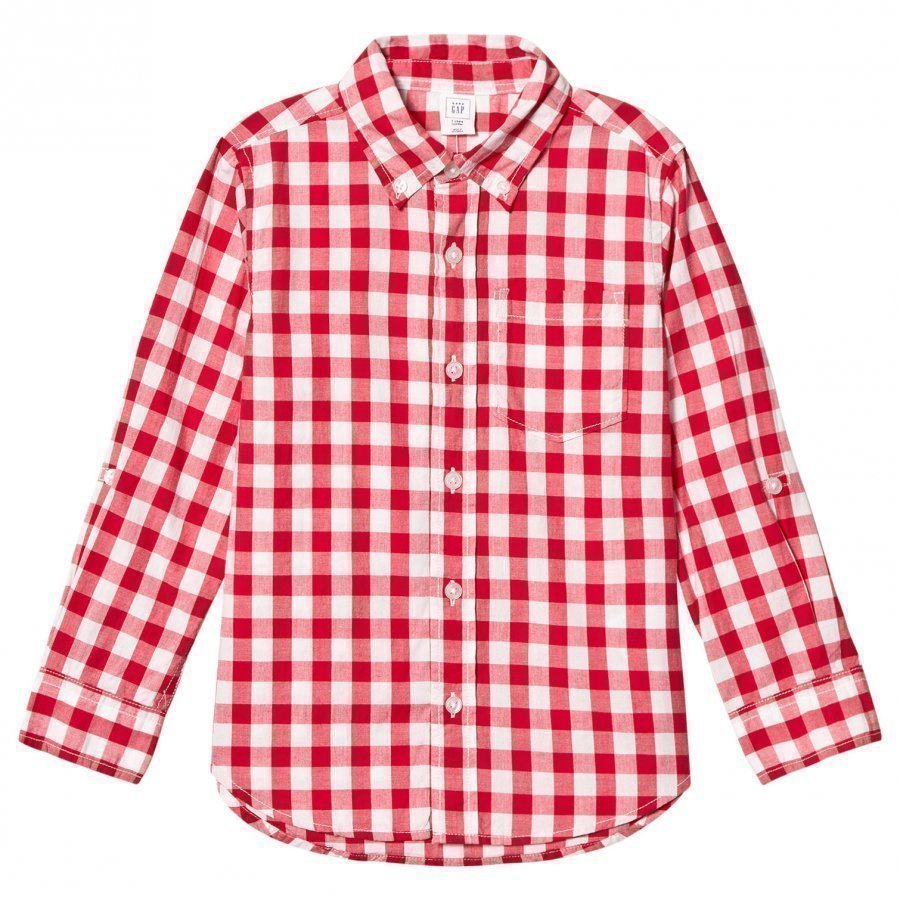 Gap Check Poplin Convertible Shirt Pepper Red Pitkähihainen T-Paita