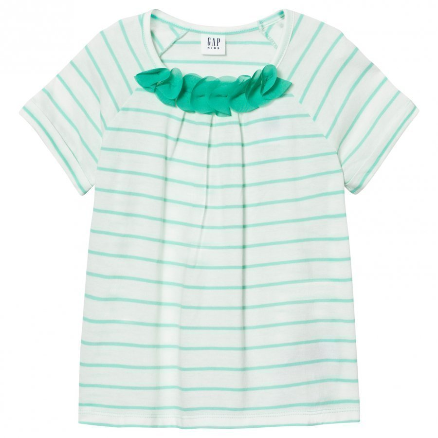 Gap Chiffon Applique Stripe Tee Aqua Tide T-Paita