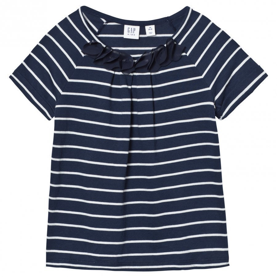 Gap Chiffon Applique Stripe Tee Blue Galaxy T-Paita