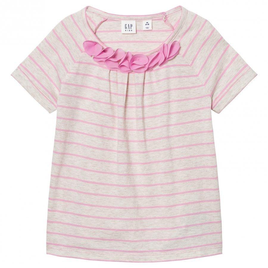 Gap Chiffon Applique Stripe Tee Pink Glo Neon T-Paita