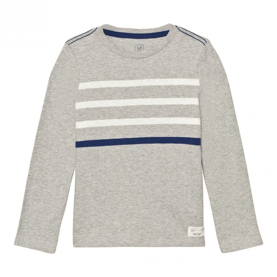 Gap Contrast Stripes Long Sleeve Slub Tee Heather Grey Pitkähihainen T-Paita