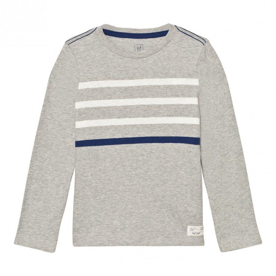 Gap Contrast Stripes Long Sleeve Slub Tee Heather Grey Pitkähihainen T-Paita