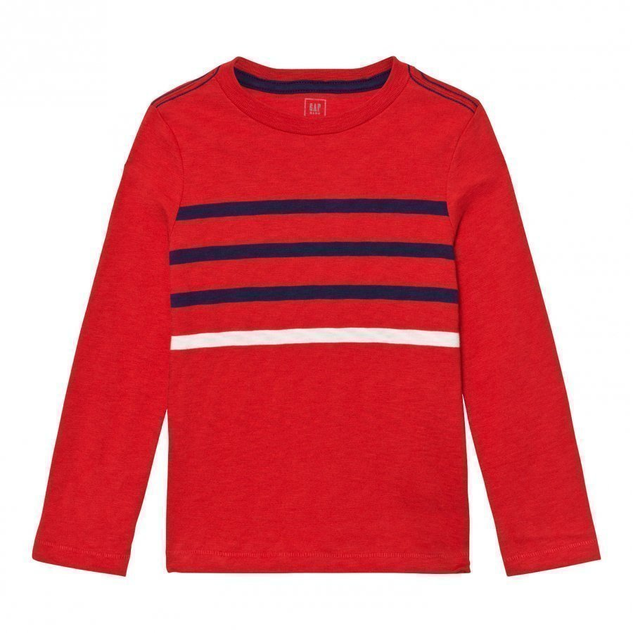Gap Contrast Stripes Long Sleeve Slub Tee Pure Red Pitkähihainen T-Paita