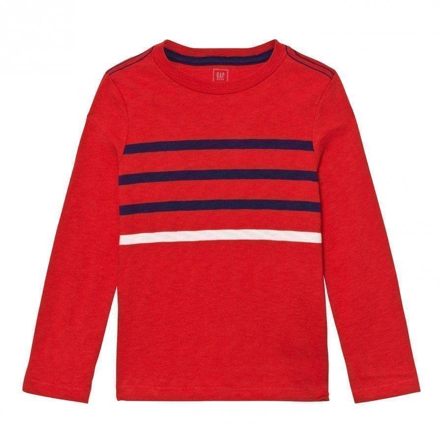 Gap Contrast Stripes Long Sleeve Slub Tee Pure Red Pitkähihainen T-Paita