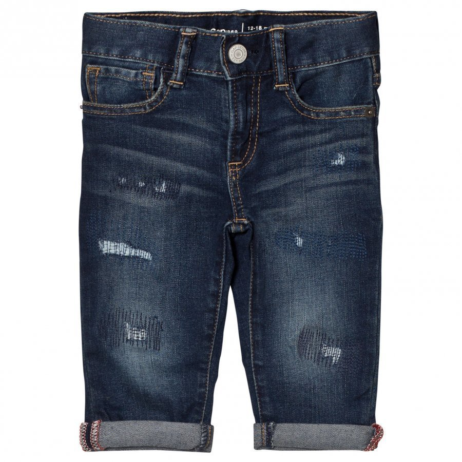 Gap Dk Dstry Slim Dark Indigo Distressed Farkut