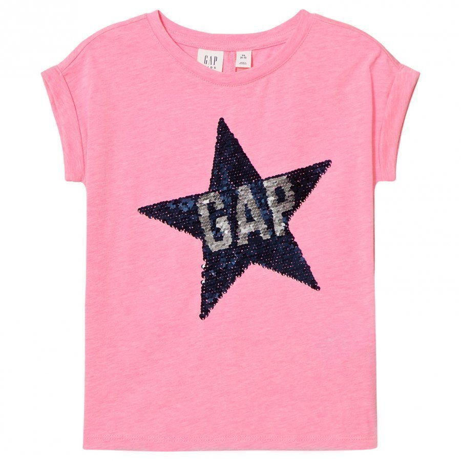 Gap Embellished Logo Tee Neon Light Pink T-Paita
