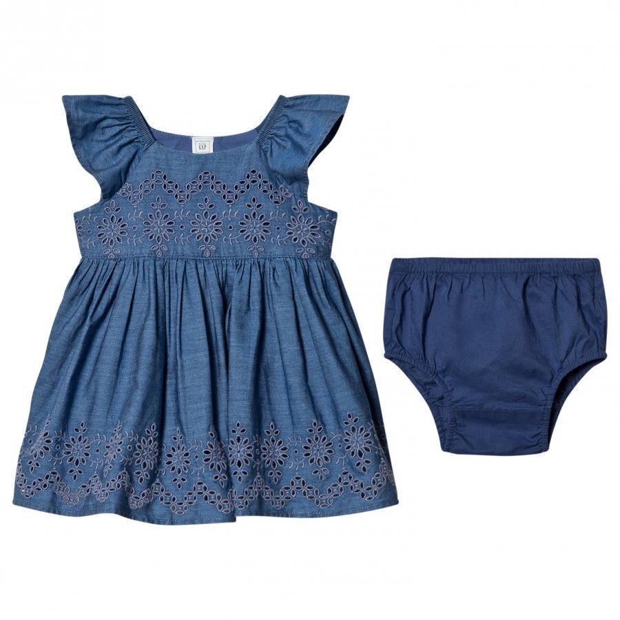 Gap Eyelet Chambray Flutter Dress Mekko