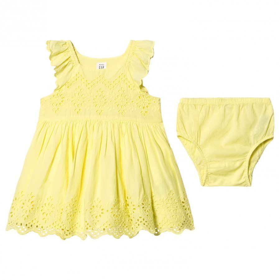 Gap Eyelet Flutter Dress Fresh Yellow Mekko