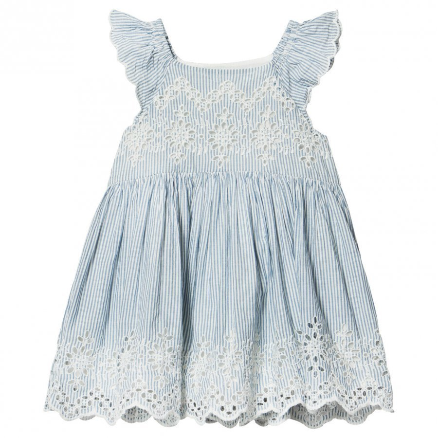 Gap Eyelet Flutter Dress Mascot Blue Mekko