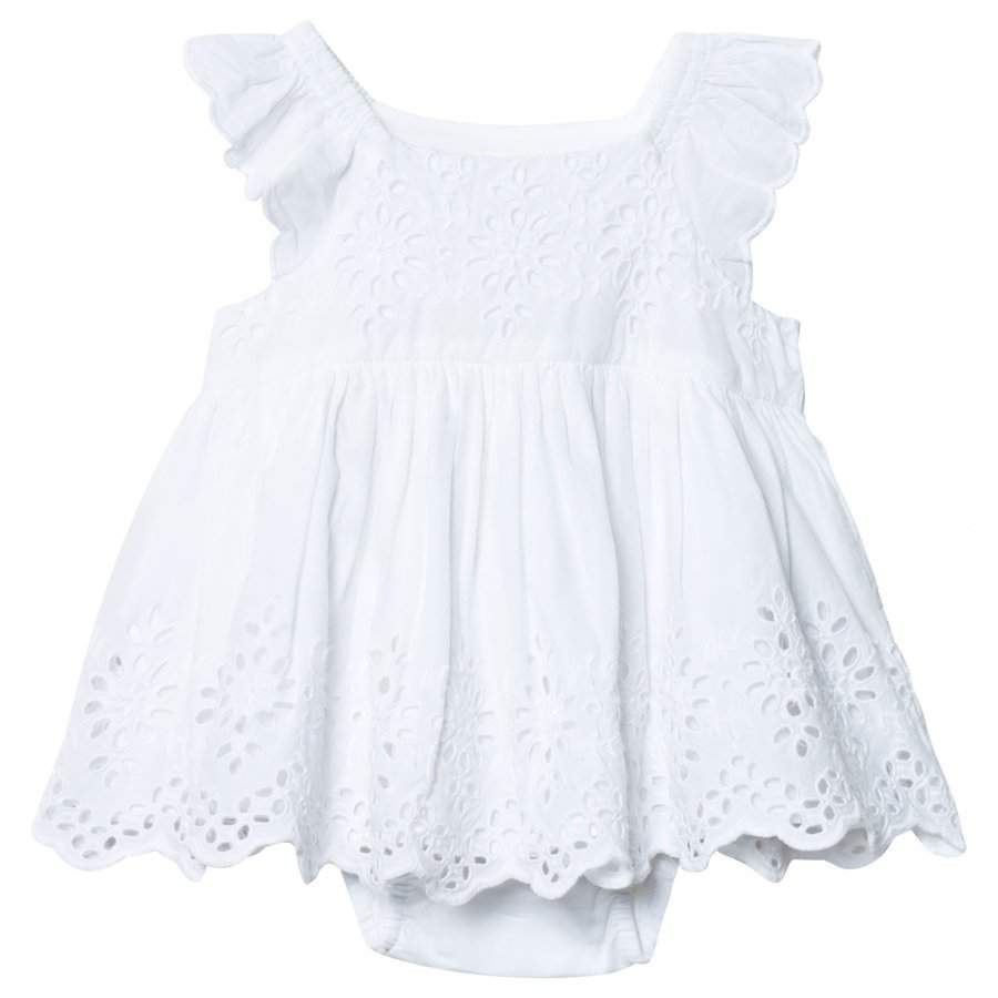Gap Eyelet Flutter Dress Optic White Mekko