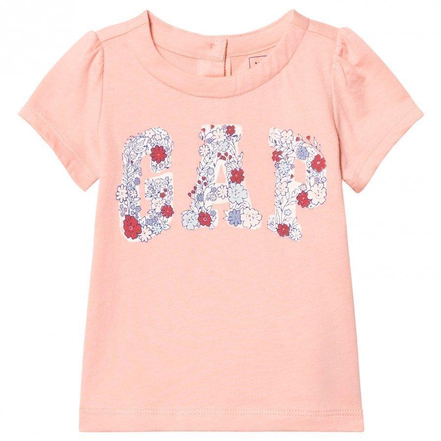 Gap Floral Logo Short Sleeve Tee Creamy Coral T-Paita