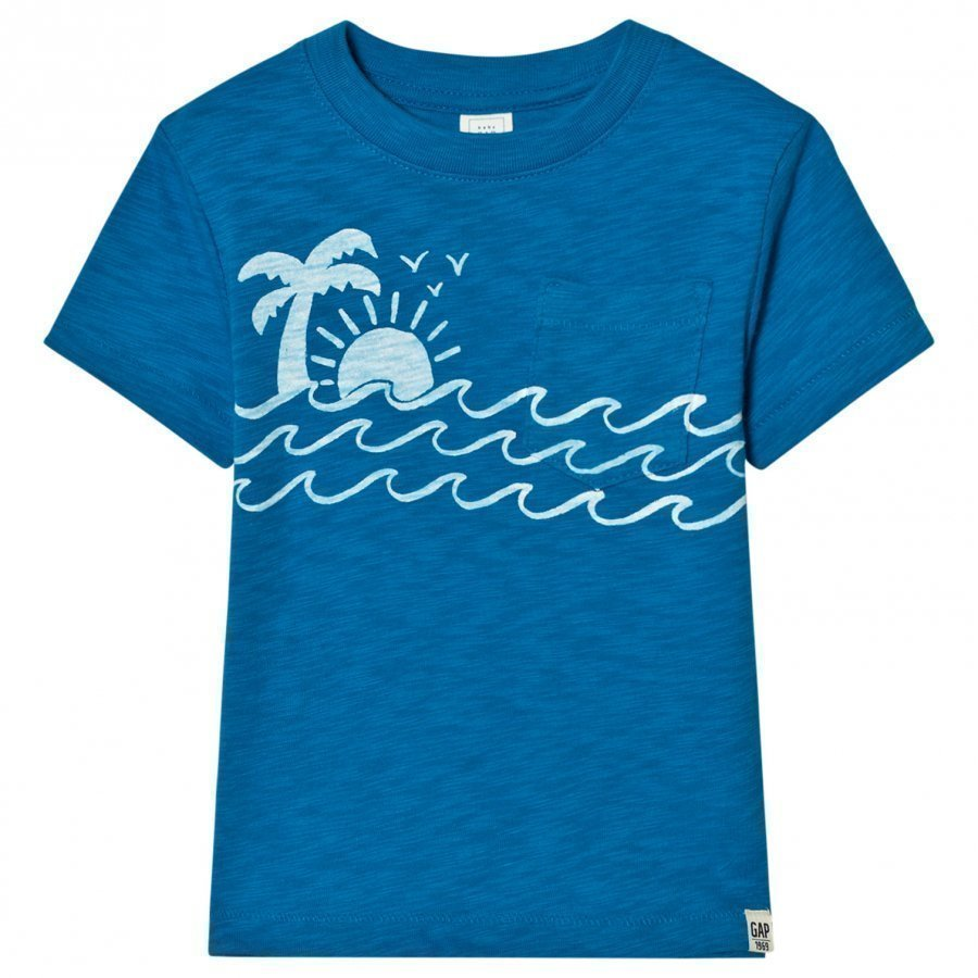 Gap Graphic Pocket Slub Tee In Oceanic Blue T-Paita