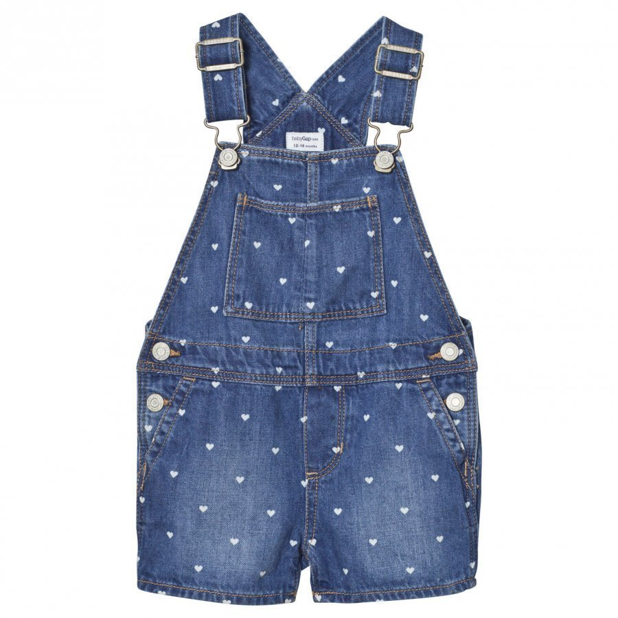 Gap Heart Print Denim Short Overalls Blue Heart Lappuhaalari