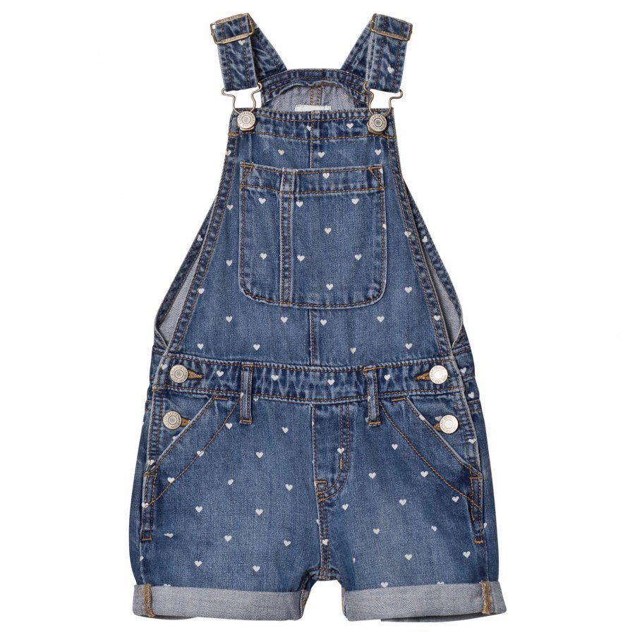 Gap Heart Print Denim Short Overalls Medium Wash Lappuhaalari