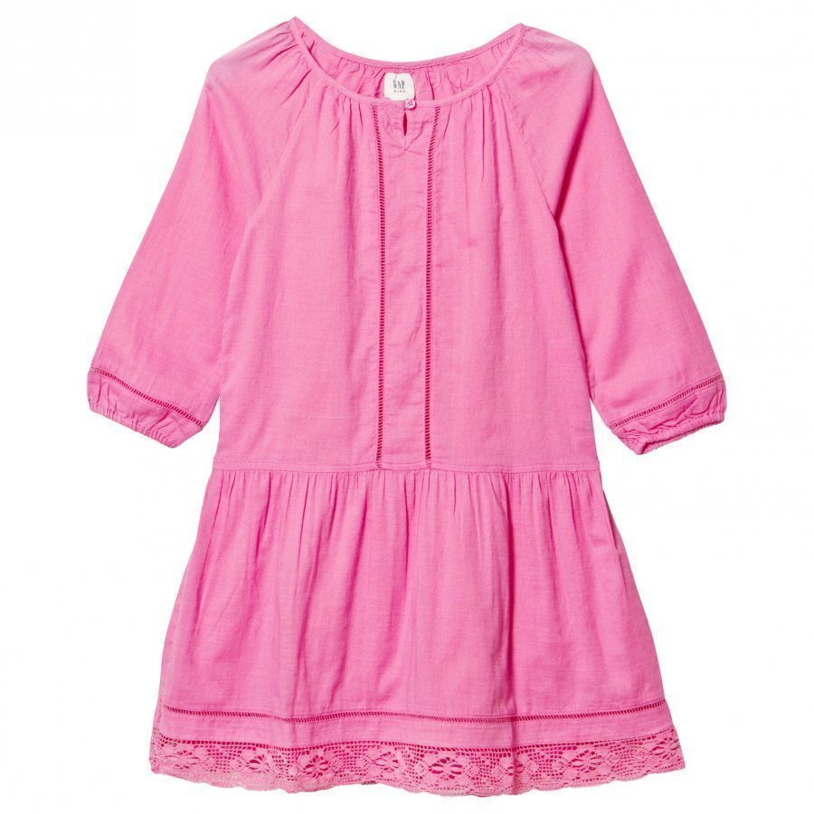 Gap Lace Hem Dress Neon Light Pink Mekko