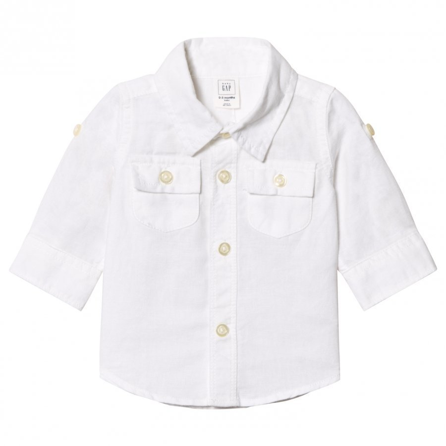 Gap Linen Convertible Pocket Shirt White Kauluspaita