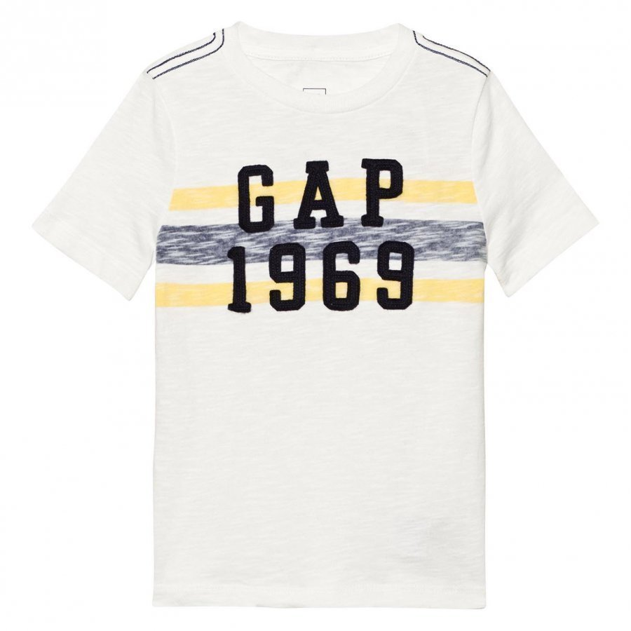 Gap Logo Chest Stripe Tee New Off White T-Paita
