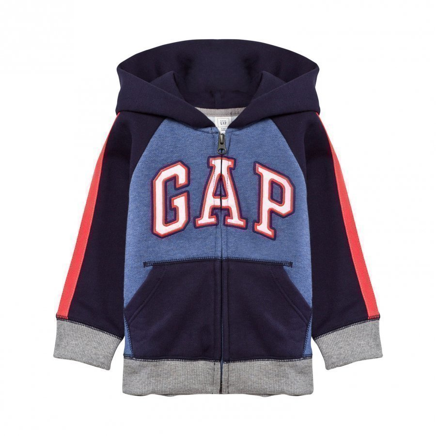 Gap Logo Colorblock Zip Hoodie Blue Heather Huppari