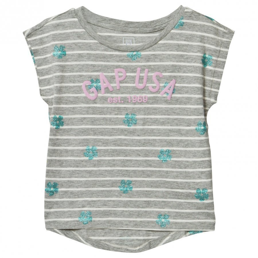 Gap Logo Floral Stripe Hi-Lo Tee Grey Heather T-Paita