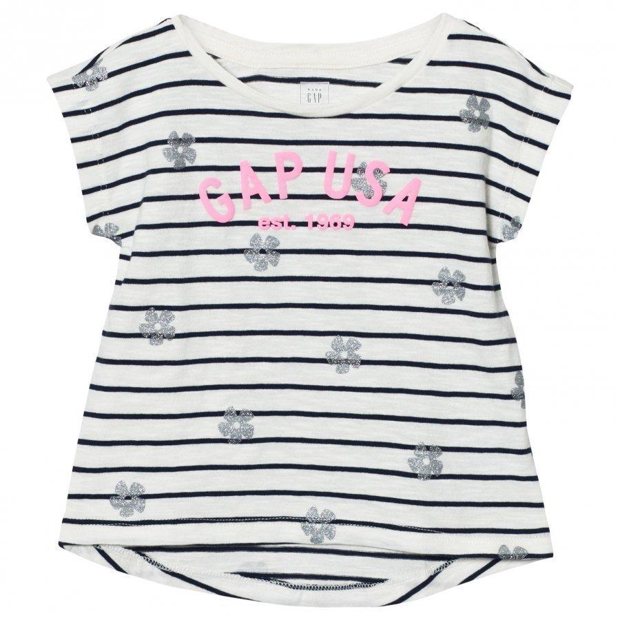 Gap Logo Floral Stripe Hi-Lo Tee Ivory Frost T-Paita