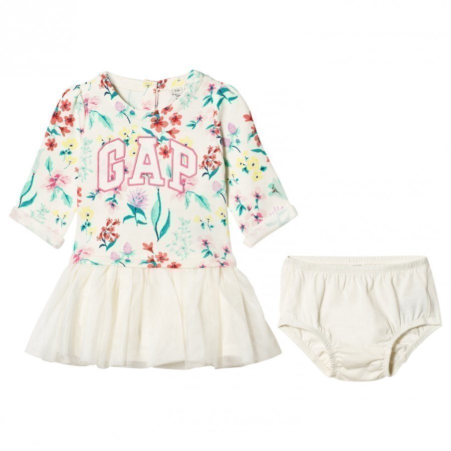 Gap Logo Floral Tutu Dress Ivory Frost Mekko