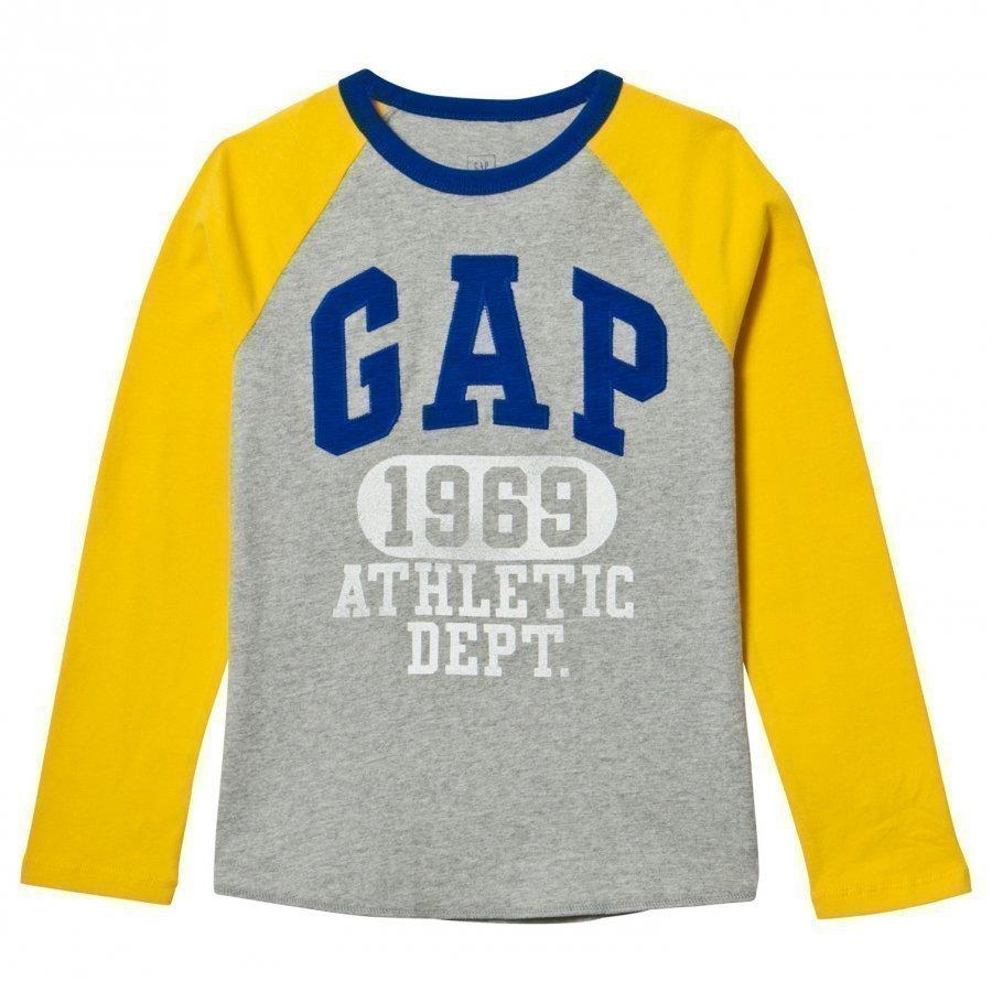 Gap Logo Graphic Baseball Tee Grey Heather Pitkähihainen T-Paita