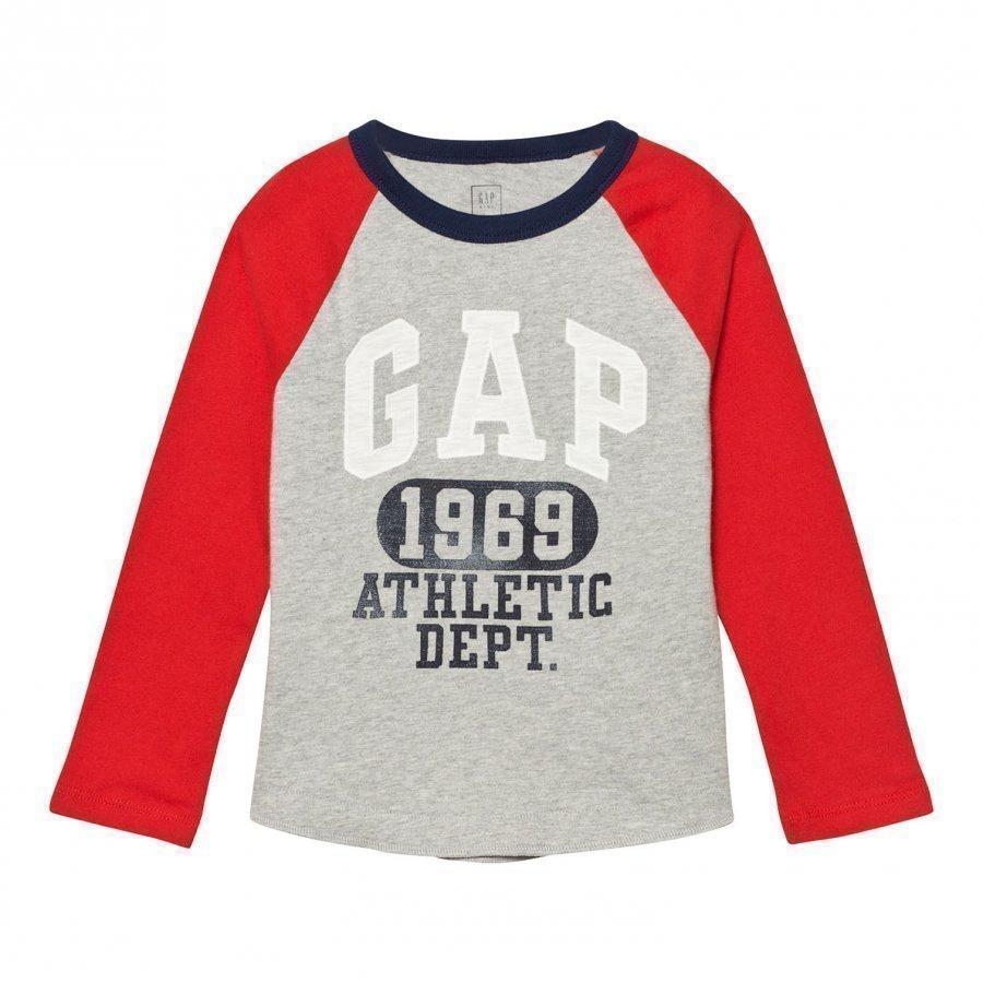 Gap Logo Graphic Baseball Tee Grey Pitkähihainen T-Paita