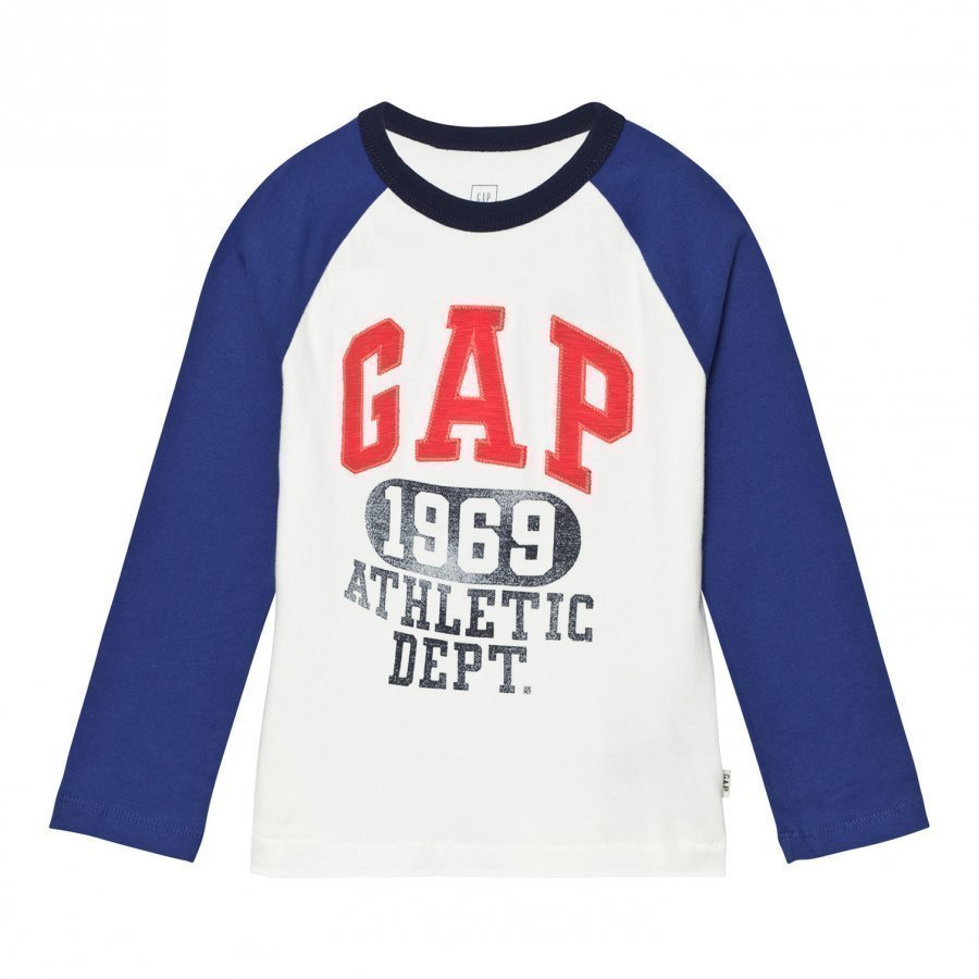 Gap Logo Graphic Baseball Tee New Off White Pitkähihainen T-Paita