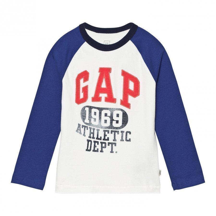 Gap Logo Graphic Baseball Tee New Off White Pitkähihainen T-Paita