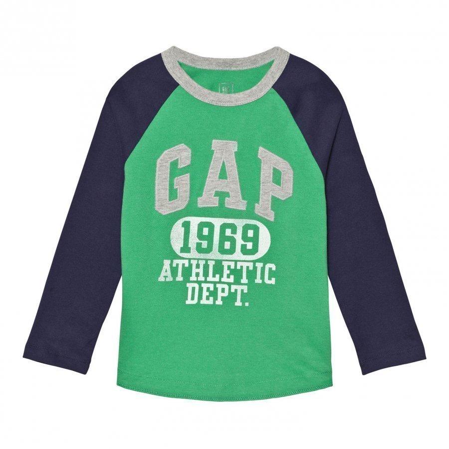 Gap Logo Graphic Baseball Tee Parrot Green Pitkähihainen T-Paita