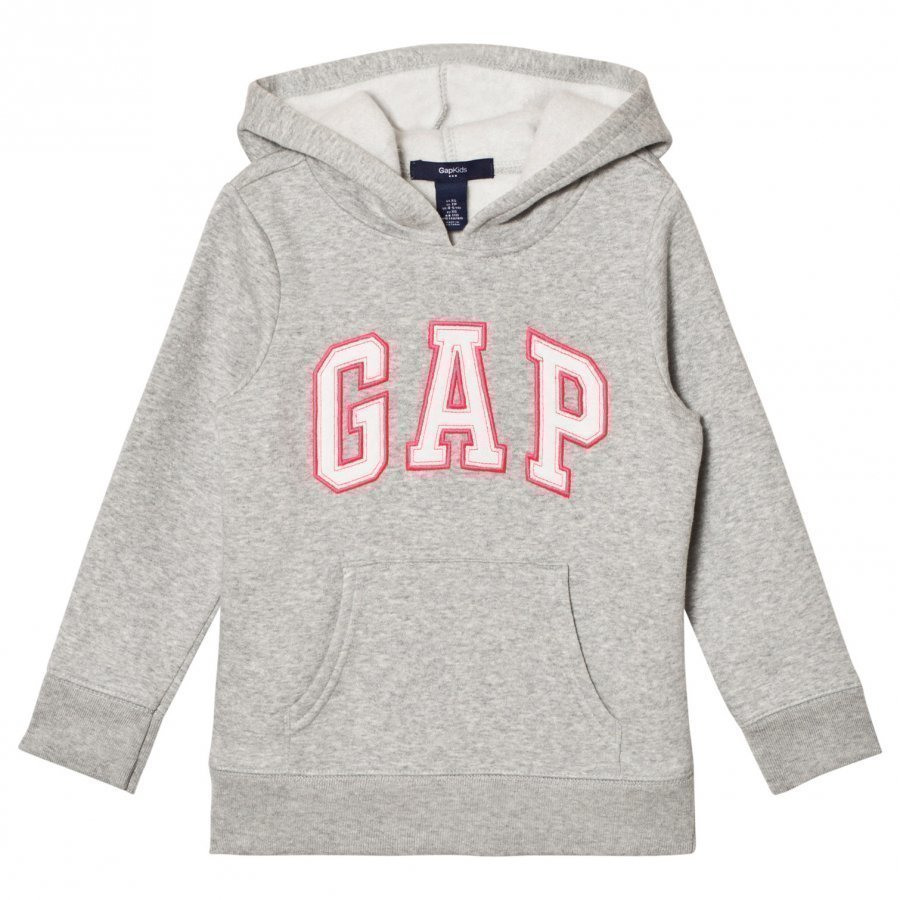 Gap Logo Hood Heather Grey Huppari