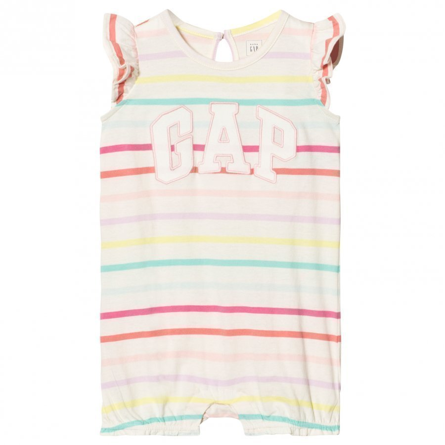 Gap Logo Stripe Flutter Short One-Piece Multi Stripe Romper Puku