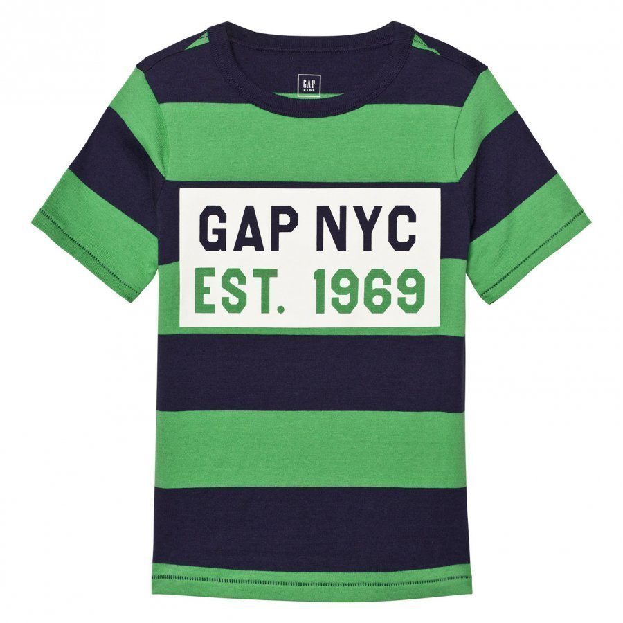 Gap Logo Stripe Short Sleeve Tee Parrot Green T-Paita