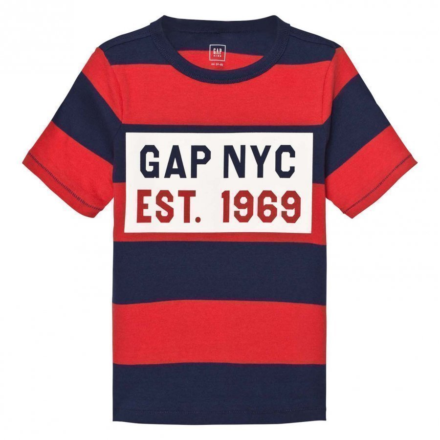 Gap Logo Stripe Short Sleeve Tee Pure Red T-Paita