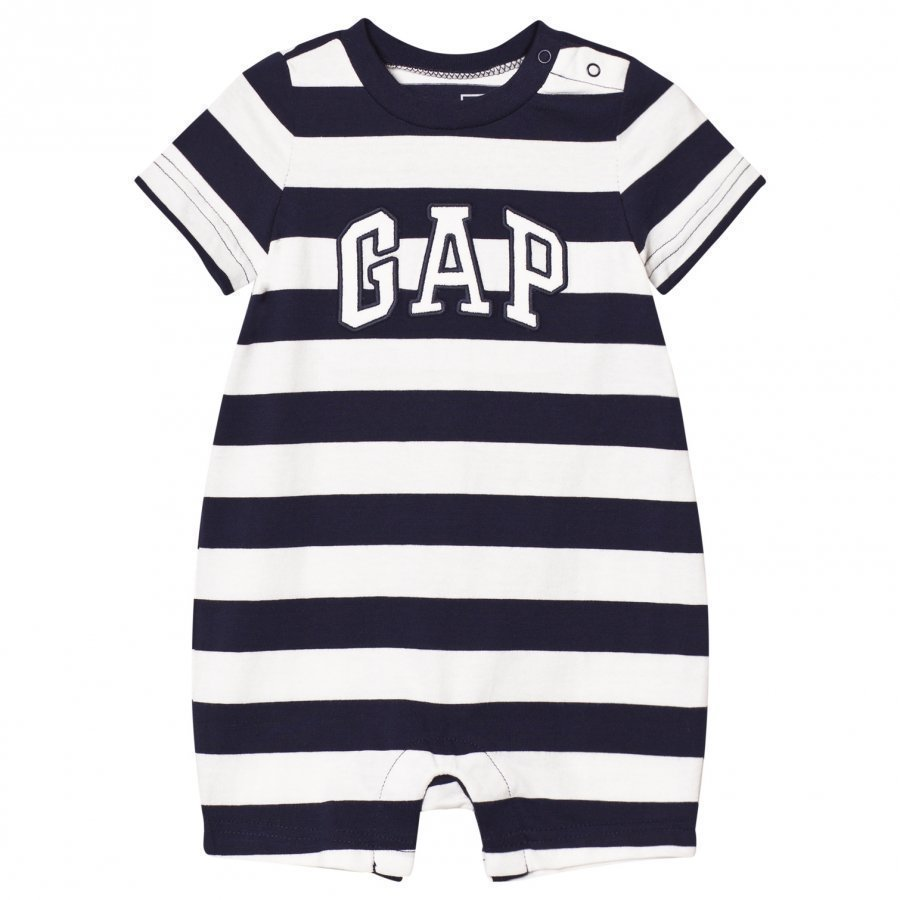 Gap Logo Stripe Shorty One-Piece Dark Night Romper Puku