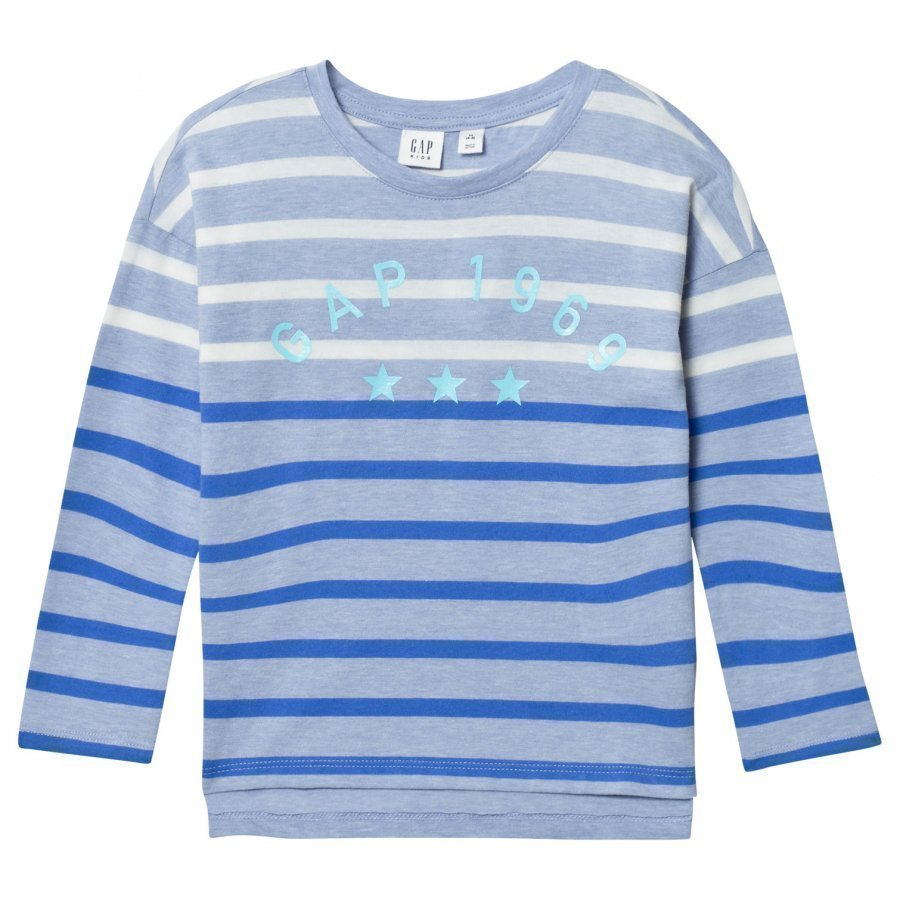 Gap Logo Striped Long Sleeve Tee Heather Blue T-Paita