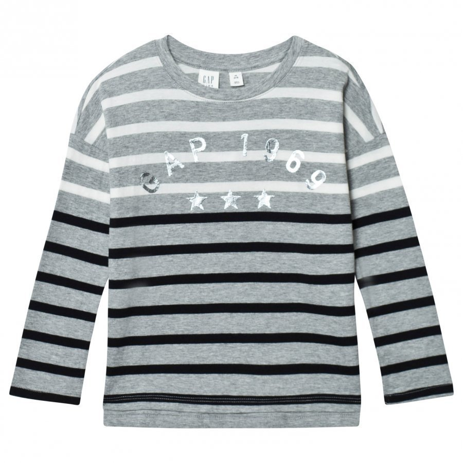 Gap Logo Striped Long Sleeve Tee Heather Grey T-Paita