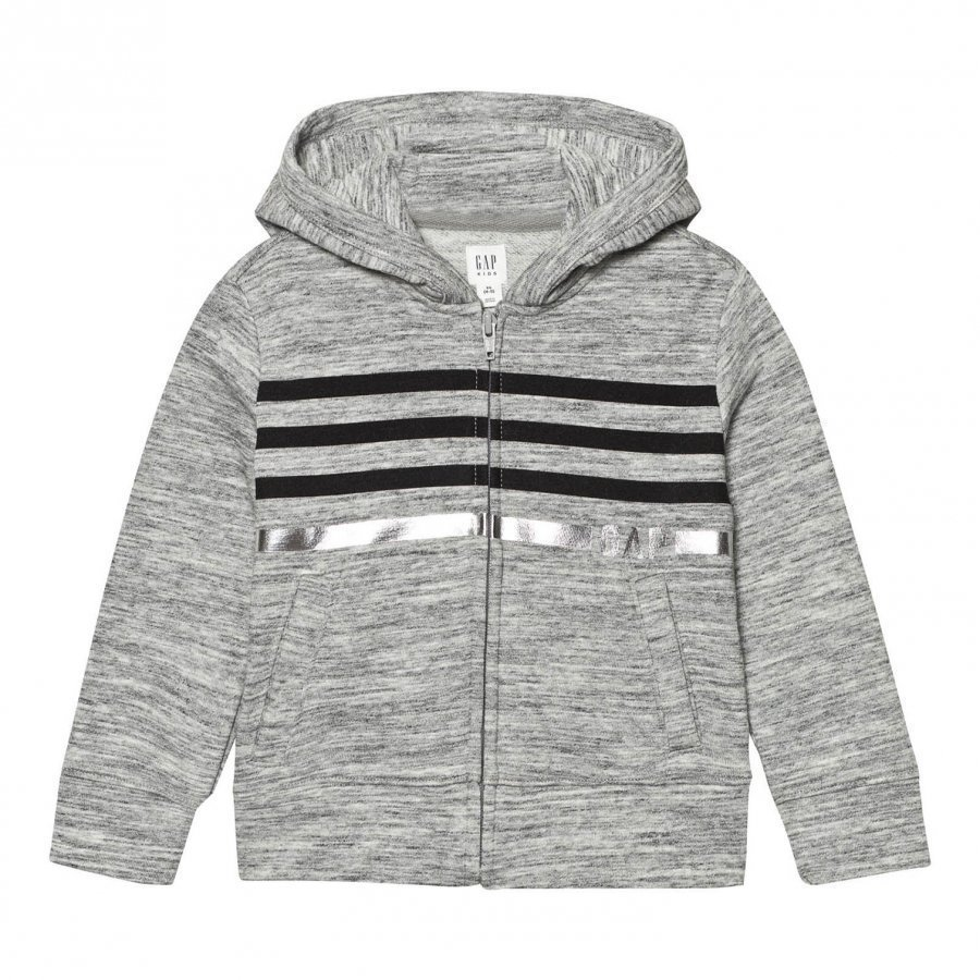 Gap Logo Terry Zip Hoodie New Heather Grey Huppari