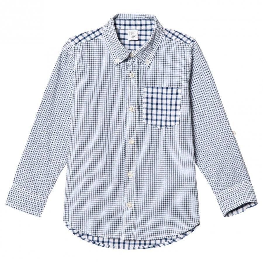 Gap Mixed Gingham Convertible Shirt New Zephyr Blue Pitkähihainen T-Paita