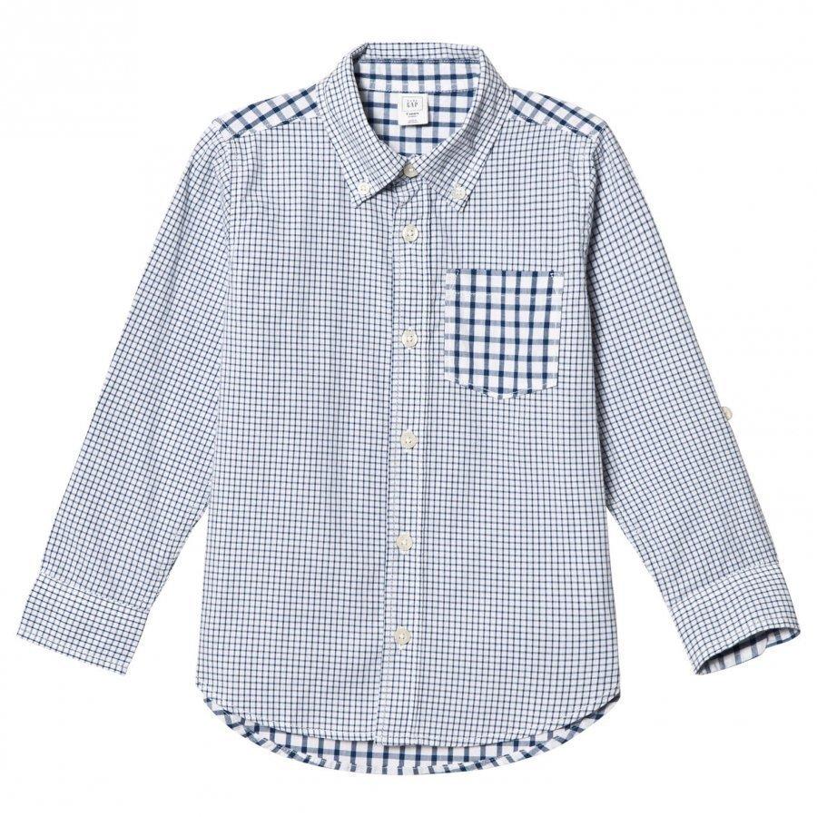 Gap Mixed Gingham Convertible Shirt New Zephyr Blue Pitkähihainen T-Paita
