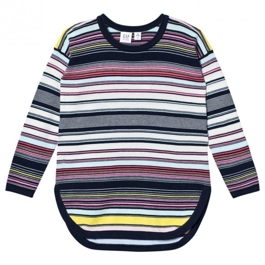 Gap Multi-Stripe Hi-Lo Sweater Blue Galaxy Paita